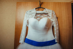 White Wedding dress on a shoulders, before ceremony Stock Images