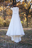 White wedding dress on the tree. No body Royalty Free Stock Image