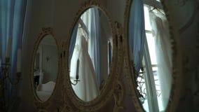 White wedding dress. White luxury wedding dress indoors stock footage
