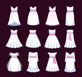 White wedding dresses. Different styles of bride clothing for wedding day, engagement, marriage party, celebration. Vector isolated illustration stock illustration