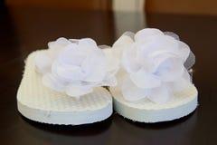 White Wedding Flip Flops Royalty Free Stock Images
