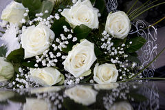White wedding flowers. With butterfly Royalty Free Stock Photos