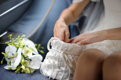 White wedding handbag Royalty Free Stock Photos