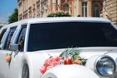 White wedding limousine Royalty Free Stock Images