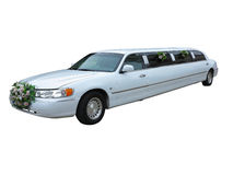 White wedding limousine Royalty Free Stock Photos