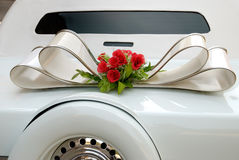 White wedding limousine Stock Images