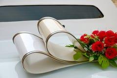 White wedding limousine. Decorative element on the white wedding limousine Stock Image