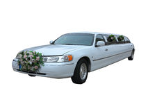 White wedding limousine for celebrities and special events isola Stock Images