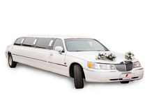 White wedding limousine Royalty Free Stock Photography