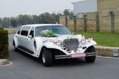 The wedding limousine decorated by tapes and colors expects the groom and the bride for walk. White wedding limousine decorated with flowers front view expects royalty free stock photo