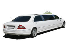 White wedding limousine  isolated Royalty Free Stock Photo
