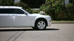 White wedding limousine outdoor shooting. Sequence stock video