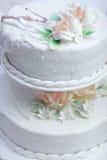 White wedding pie. With roses Stock Photos