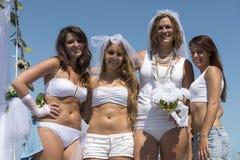 White wedding in pride parade Royalty Free Stock Photo