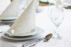White Wedding Reception Place Setting Royalty Free Stock Image