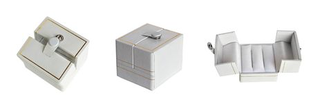 White wedding ring box set Royalty Free Stock Photo