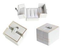 White wedding ring box set Stock Photography