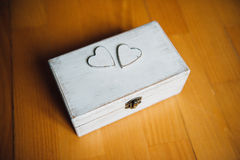 White wedding ring box in vintage styler Stock Photo