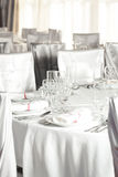 White wedding round table set Stock Photos