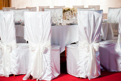 White wedding round table set Royalty Free Stock Photography