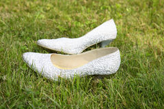 White wedding shoes Royalty Free Stock Images
