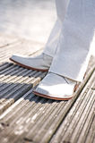 White wedding shoes. Male with white wedding shoes Royalty Free Stock Photos