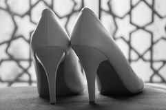 White Wedding Shoes Royalty Free Stock Photography