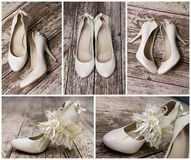 White wedding shoes with a garter Royalty Free Stock Images