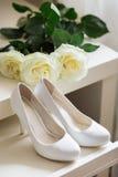 White Wedding shoes Stock Photography