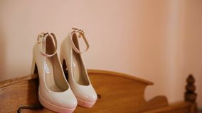 White wedding shoes for women stock video