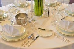 White wedding table reception Royalty Free Stock Photo