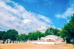 White wedding tent on the beach Royalty Free Stock Images