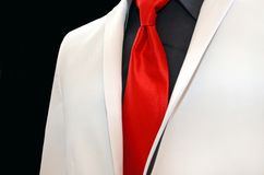 White wedding tuxedo with red tie Royalty Free Stock Image