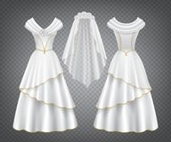 Free White Wedding Woman Dress With Tulle Veil Stock Photo - 167694310