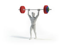 Weightlifter. White weightlifter on white background Royalty Free Stock Photography