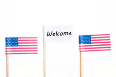White Welcome Flag Royalty Free Stock Image