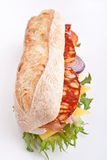White wheat baguette sandwich Royalty Free Stock Image