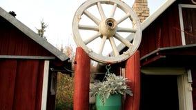 White wheel design on top of pedestal stock video