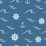 White wheels, waves, birds and anchors on blue background vector seamless pattern vector illustration