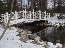 White on White. Foot bridge at Sayen Gardens in Hamilton, NJ. Early morning in winter stock images