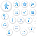 White on White Button Icons Stock Images