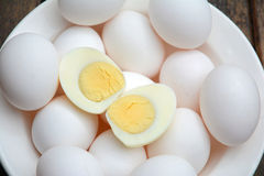 white whole eggs haflboiled egg Stock Images