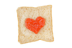White whole wheat bread slice with jam Royalty Free Stock Photo