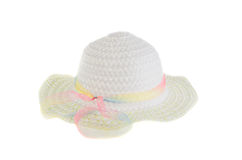 White wicker hat for the summer on an isolated background Stock Image