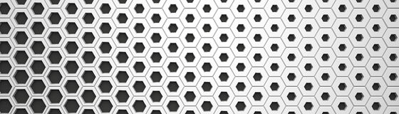 White Wide Hexagon Background Stock Image