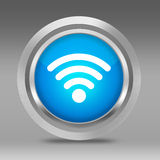 White WIFI Symbol on Metalic 3D Circle Royalty Free Stock Image
