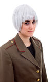 White wig. Woman with a russian army coat and a white wig, isolated Stock Photos