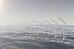 White wind turbine generating electricity in sea, ocean. Clean energy, wind energy, ecological concept. 3d rendering Royalty Free Stock Images