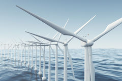 White wind turbine generating electricity in sea, ocean. Clean energy, wind energy, ecological concept. 3d rendering Royalty Free Stock Photos