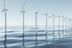 White wind turbine generating electricity in sea, ocean. Clean energy, wind energy, ecological concept. 3d rendering Stock Images